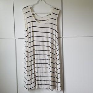 White and black striped tank dress